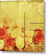 Postcard With Floral Pattern Metal Print
