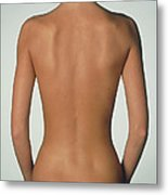 Posterior View Of The Torso Of A Standing Woman Metal Print