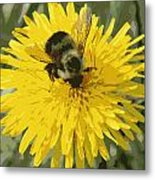 Posterized Bumble Bee Metal Print
