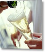 Pouring Champagne Metal Print by David Munns