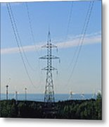 Power Lines Lead From Windmills Metal Print