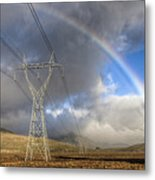 Powerlines, Rainbow Forms As Evening Metal Print