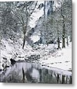 Powerscourt Waterfall In Winter, County Metal Print