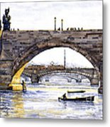 Prague Bridges Metal Print