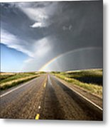 Prairie Hail Storm And Rainbow Metal Print