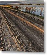 Prairie Road Storm Clouds Mud Tracks Metal Print