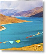 Prayer Flags By Yamdok Yumtso Lake, Tibet Metal Print