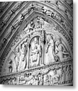 Prayers At Notre Dame - Black And White Metal Print