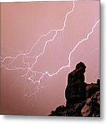 Praying Monk Camelback Mountain Lightning Monsoon Storm Image Metal Print by James BO  Insogna