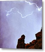 Praying Monk Camelback Mountain Paradise Valley Lightning  Storm Metal Print by James BO  Insogna