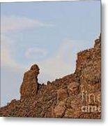 Praying Monk With Halo Camelback Mountain Metal Print