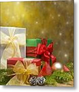 Presents Decorated With Christmas Decoration Metal Print