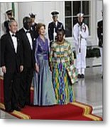 President And Laura Bush Welcome Ghanas Metal Print