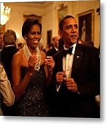 President And Michelle Obama Applaud Metal Print
