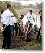 President And Michelle Obama Help Plant Metal Print