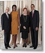 President And Michelle Obama Pose Metal Print