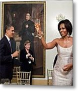 President And Michelle Obama Toast Metal Print