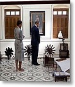 President And Michelle Obama Tour Metal Print