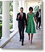 President And Michelle Obama Walk Metal Print by Everett