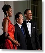 President And Michelle Obama Welcome Metal Print