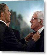 President Barack Obama Adjusts Dick Van Metal Print by Everett