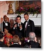 President Barack Obama And President Hu Metal Print