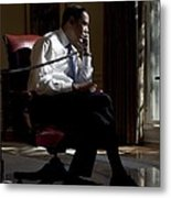 President Barack Obama At His Oval Metal Print by Everett