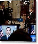 President Barack Obama Conducting Metal Print
