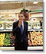 President Barack Obama Eats A Peach Metal Print