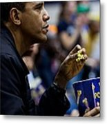 President Barack Obama Eats Popcorn Metal Print