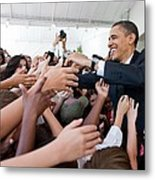 President Barack Obama Greets Young Metal Print