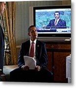 President Barack Obama In Front Metal Print by Everett