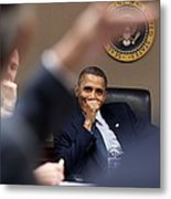 President Barack Obama Laughs Metal Print