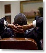 President Barack Obama Leans Back Metal Print by Everett