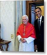 President Barack Obama Meets With Pope Metal Print by Everett