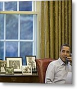 President Barack Obama Talks Metal Print