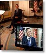 President Barack Obama Tapes The Weekly Metal Print
