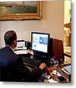 President Barack Obama Tests The New Metal Print by Everett