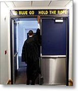 President Barack Obama Touches The Sign Metal Print by Everett