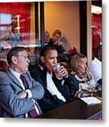 President Barack Obama Watches The 2009 Metal Print by Everett