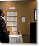 President Barack Obama Watches The U.s Metal Print