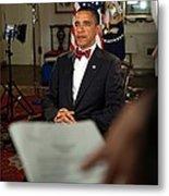 President Barack Obama Wearing A Bow Metal Print by Everett