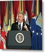 President Clinton Delivers An Metal Print