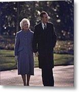 President George And Barbara Bush Take Metal Print by Everett