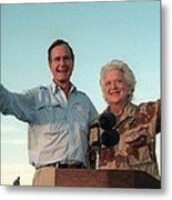 President George Bush And Barbara Bush Metal Print