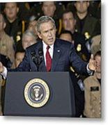 President George W. Bush Speaks Metal Print by Stocktrek Images