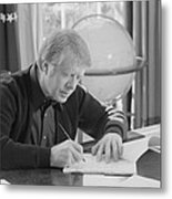 President Jimmy Carter Working Metal Print by Everett