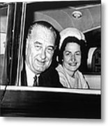President Lyndon B. Johnson And First Metal Print