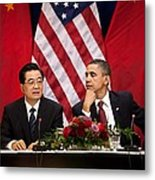 President Obama And Chinese President Metal Print