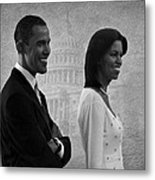President Obama And First Lady Bw Metal Print